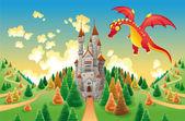 Panorama s středověký hrad a drak