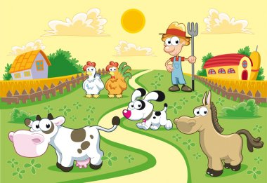 Farm Family with background