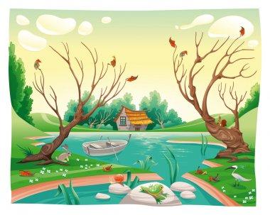 Pond and animals.