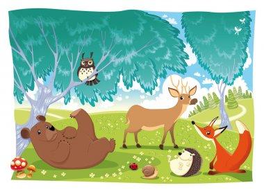 Animals in the wood. animal, autumn, background, bear, bird, childhood, cloud, color, daisy, deer, fable, fairy, fauna, flower, forest, fox, grass, hedgehog, illustration, isolated, ladybird, ladybug,