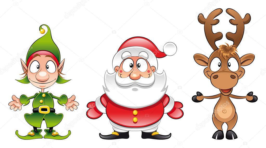 Santa claus, Elf, Rudolph — Stock Vector © ddraw #9880187