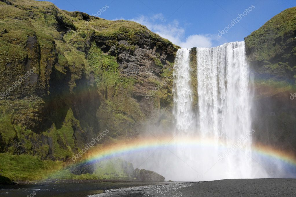 Rainbow at waterfall