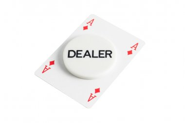 Dealer with ace of diamonds over white