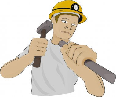 Builder or the miner works with a hammer and a chisel