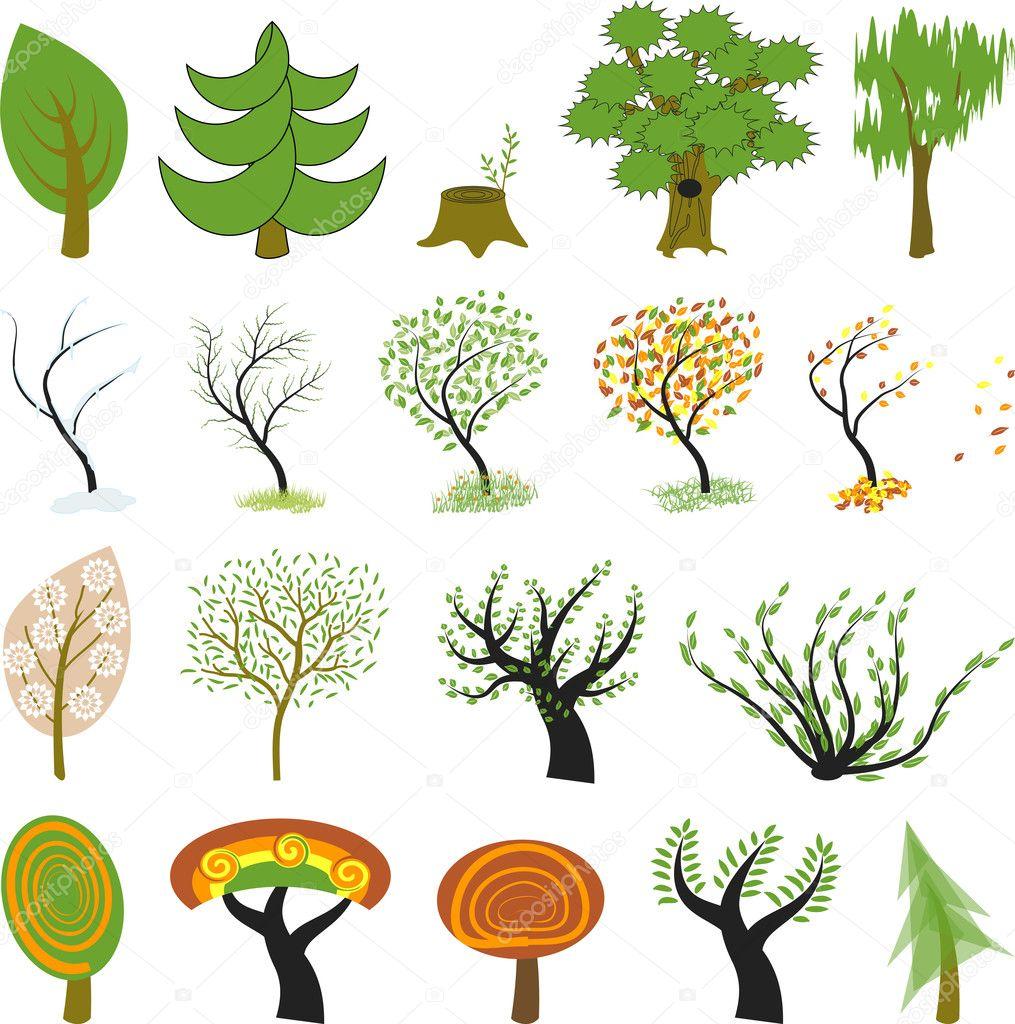 Many different cartoon trees