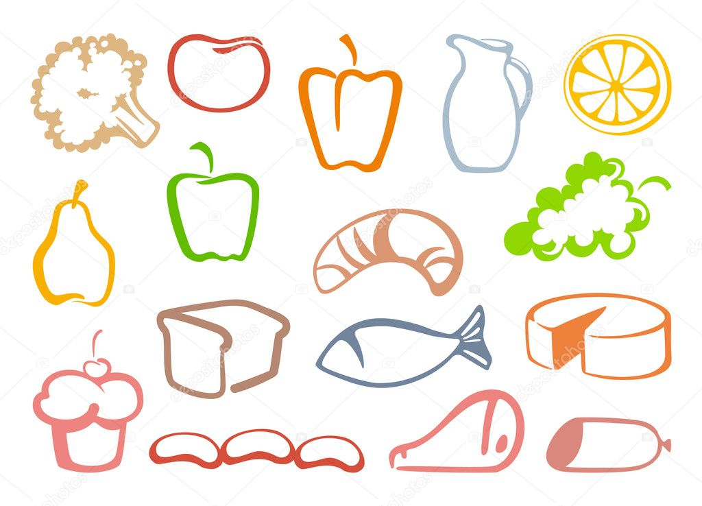 Outlines food icons