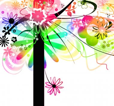 Multicolored crazy floral tree for joyful, happiness, springtime and creativity concepts stock vector