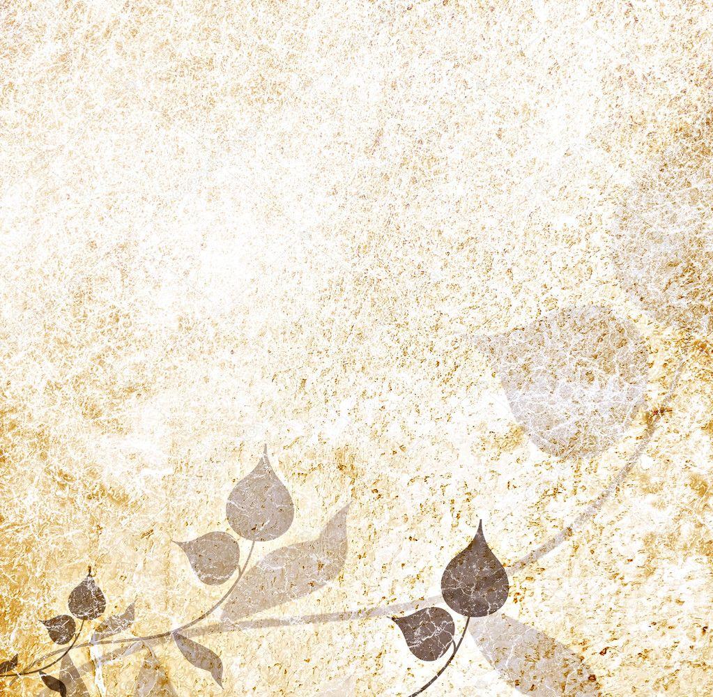 Sepia leaves floral vintage