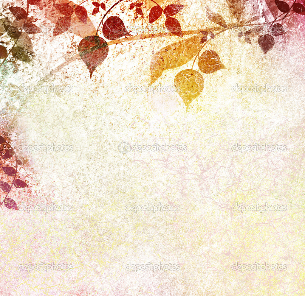Luminous leaves vintage background