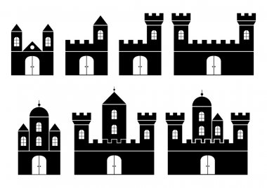 Black silhouettes of castles