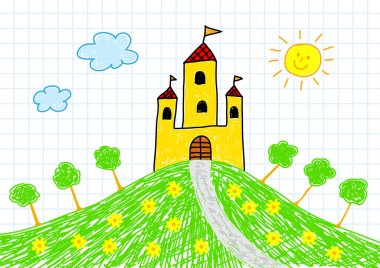 Drawing of yellow castle