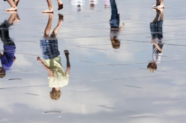 Reflection of a child running
