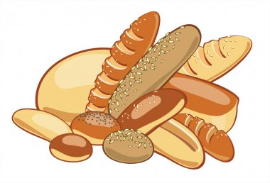 Breads and muffins, pastries, bake, vector drawing stock vector