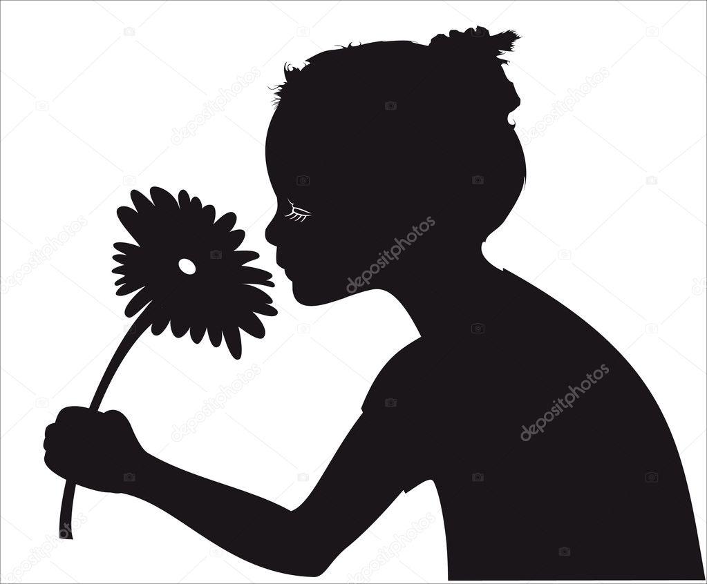 картинка силуэт нюхающего цветы сакамаки