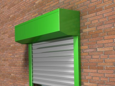 Window with rolling shutters system on the bricks wall