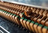 Detail svislé černé klavírní kladivo