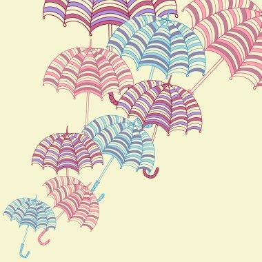 Design ellement with cute umbrellas. Vector illustration.