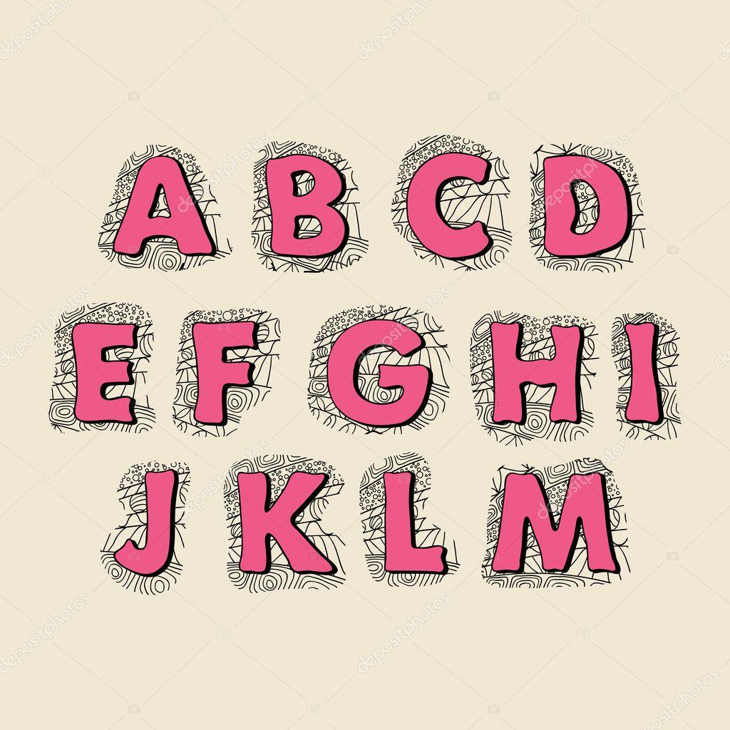 かわいい手描きフォントです。ベクトル文字セット-m — ストックベクター