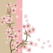 Fotografie Cherry Tree (Card with stylized vector blossom)