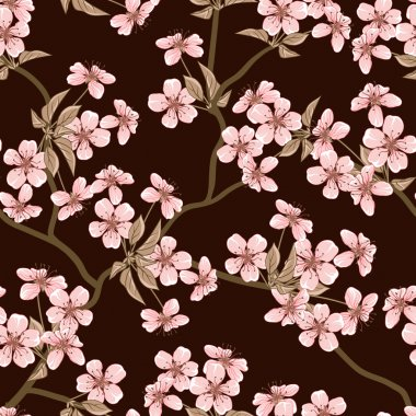 Cherry blossom vector background. (Seamless flowers pattern)