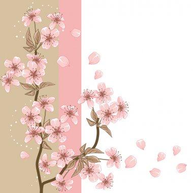 """Картина, постер, плакат, фотообои """"вишневое дерево (карта со стилизованным векторным цветом) )"""", артикул 10303372"""