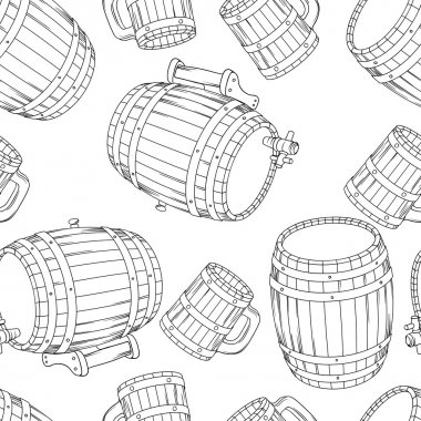 Barrel and cup seamless background. Vector illustration.