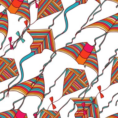 Vector kites for your design. Seamless pattern.