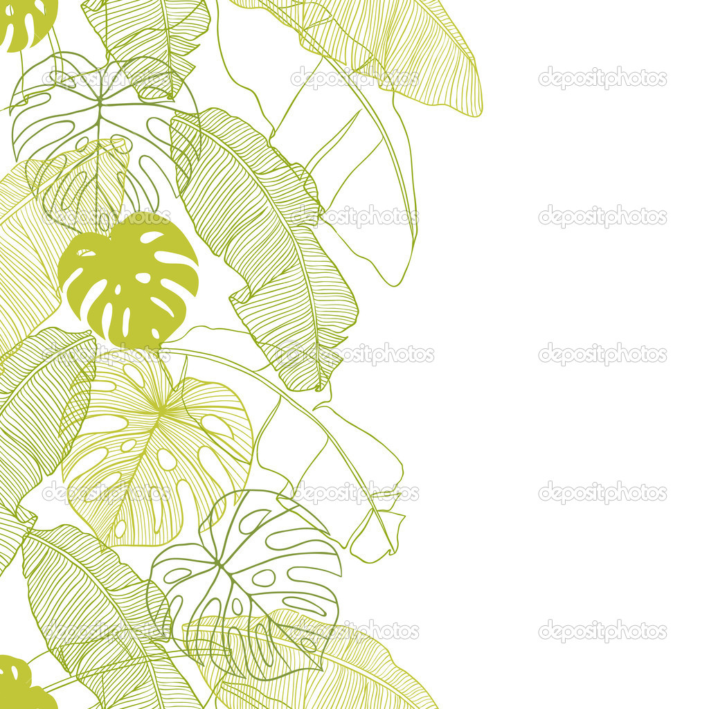 Vector illustration leaves of palm tree. Seamless pattern.