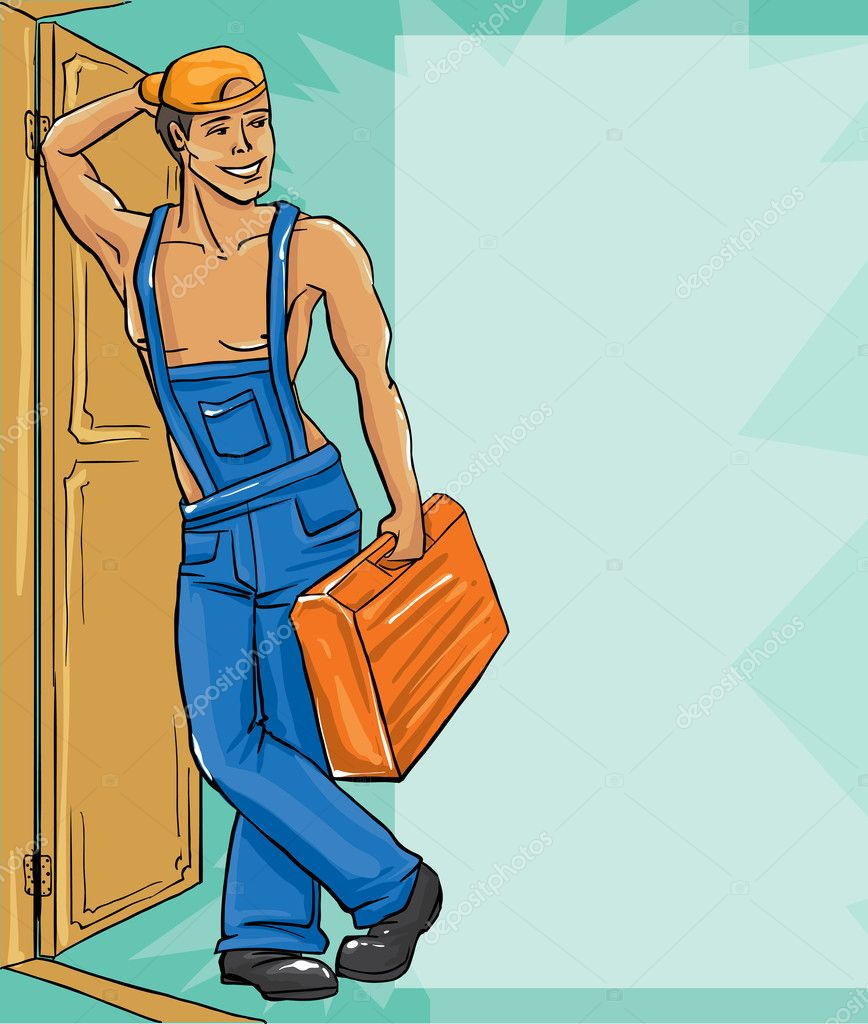 Cartoon character Illustration of plumber in a uniform.