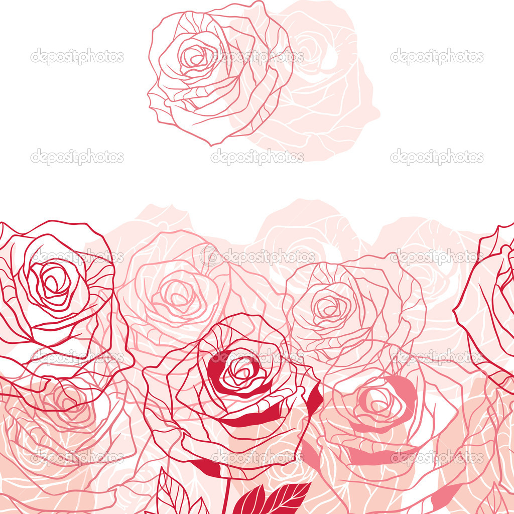 Floral background with pink roses. Vector illustration.
