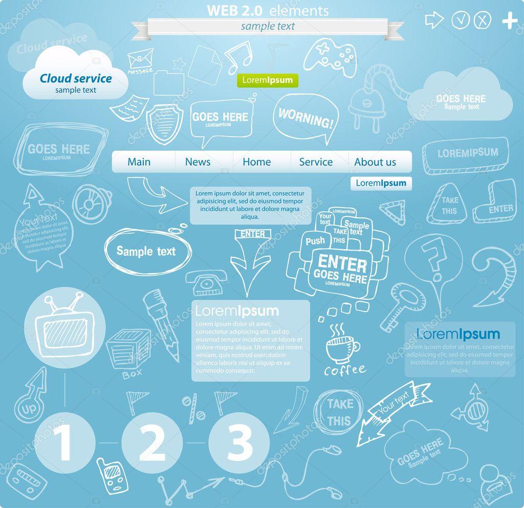 Cloud service web site design elements
