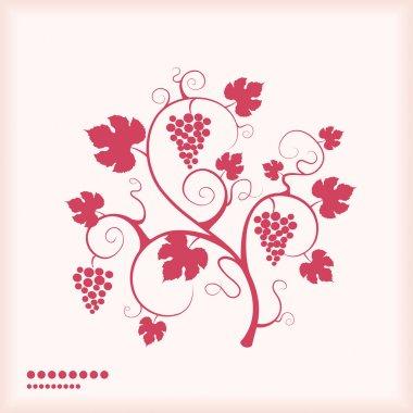 Grape vine silhouette pink colored background.