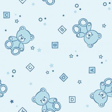 Teddy bears seamless blue background.