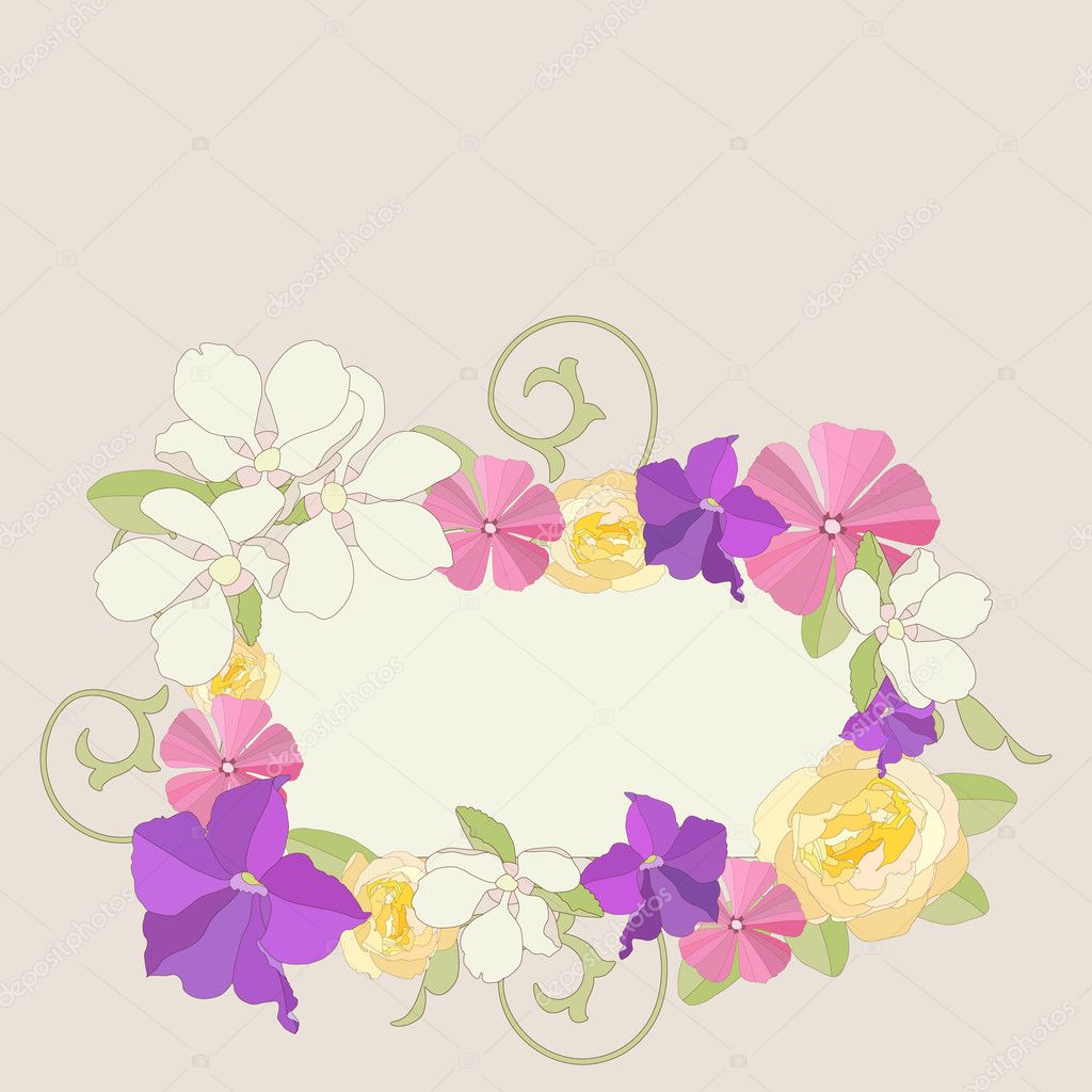 Fondo marco adornado de flores del jardín — Archivo Imágenes ...