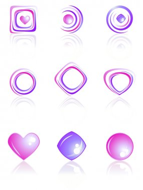Pink and violet colors logos set.