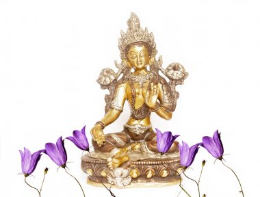 Indian statue and floral elements