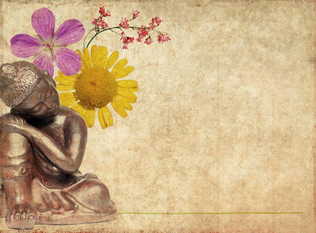 Hintergrundbild Mit Buddha Und Floralen Elementen Stockfoto