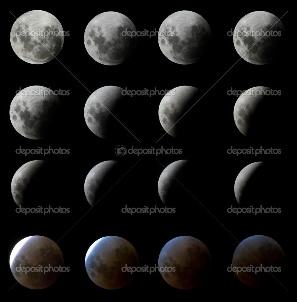 16 Phases of a Moon Eclipse