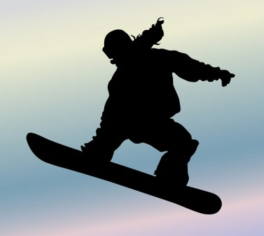 Snowboarding silhouette stock vector