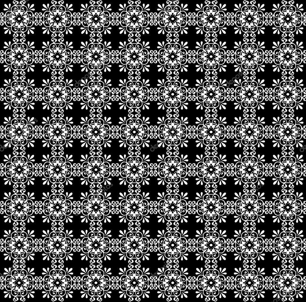 Tapetenmuster schwarz weiß  weiß Motive Tapete Muster Hintergrund — Stockfoto #10116576
