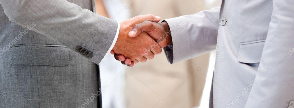 Nahaufnahme von einer Geschäftsvereinbarung durch Schütteln der hand ...