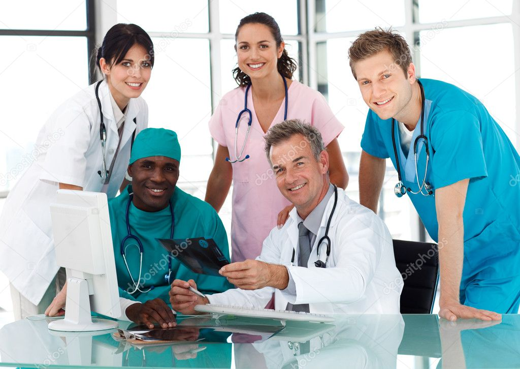 Group of doctors in a meeting — Stock Photo ...