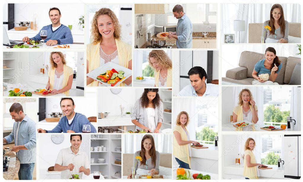 Montaż młodych dorosłych, przygotowanie posiłków — Obraz stockowy
