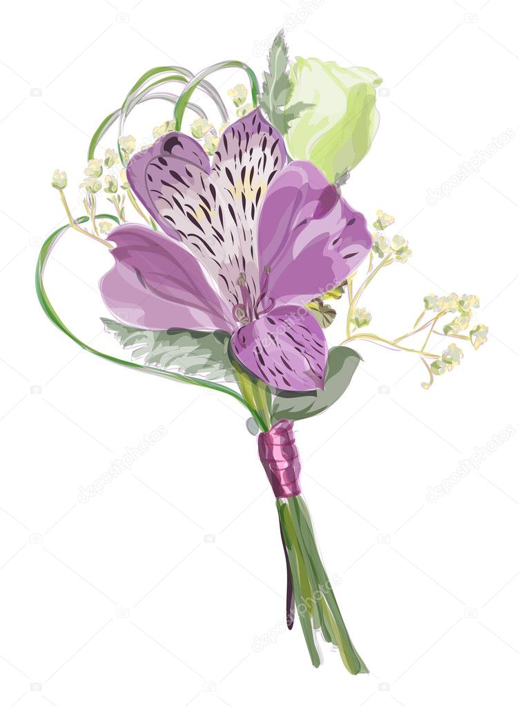 Boutonniere with Alstroemeria and Eustoma.