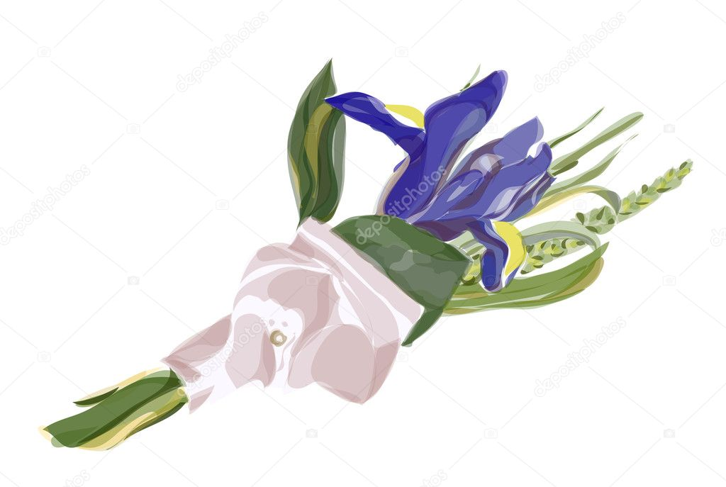 Wedding Boutonniere with blue iris