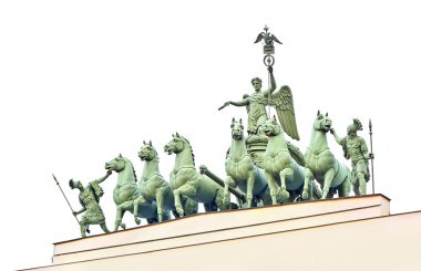 Statues at Palace Area in Saint-Petersburg city isolated on whit