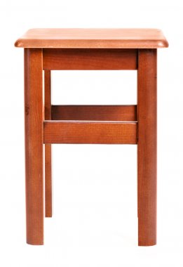Front view of wooden stool isolated on white