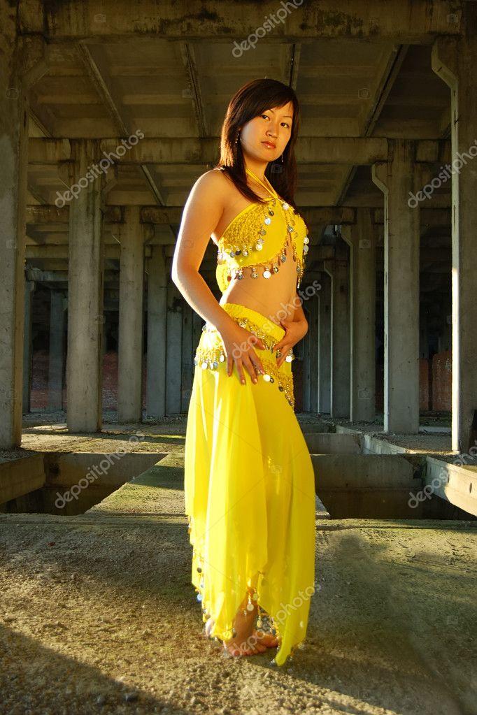 Pretty girl dancing in indian dress