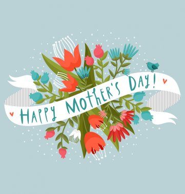 Happy Mother's Day floral greeting stock vector
