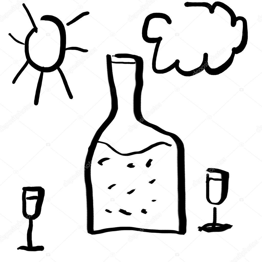 Dessin primitif d 39 un verre de vin et bouteille - Verre de vin dessin ...